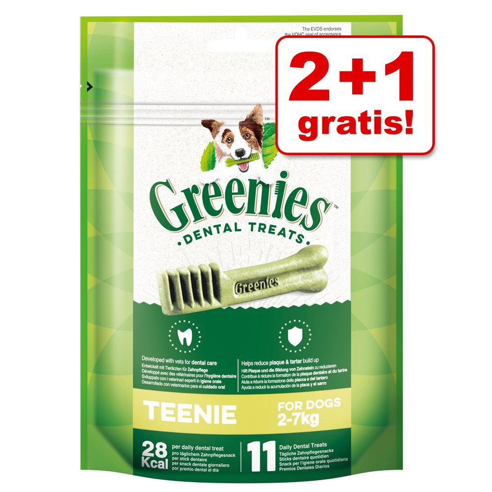 2 + 1 på köpet! 3 x förpackningar Greenies tandvårdsgodis 3 x Teenie (à 85 g / 11 st)