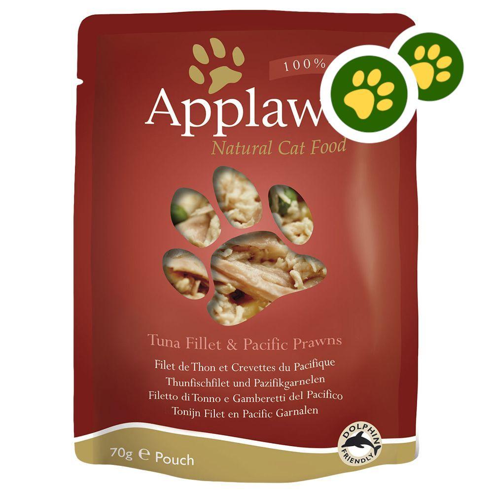 Sachets fraîcheur Applaws 12 ou 16 x 70 g pour chat : zooPoints x 5 ! - filet de thon, anchois (12 x 70 g)