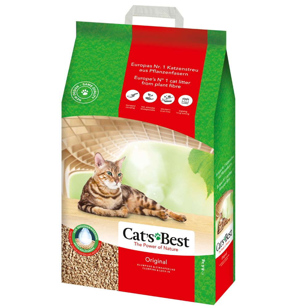 Cat's Best Original, previously know as Cat's Best Öko Plus Cat Litter, is more efficient than conventional clumping cat litter, because the natural plant fib...