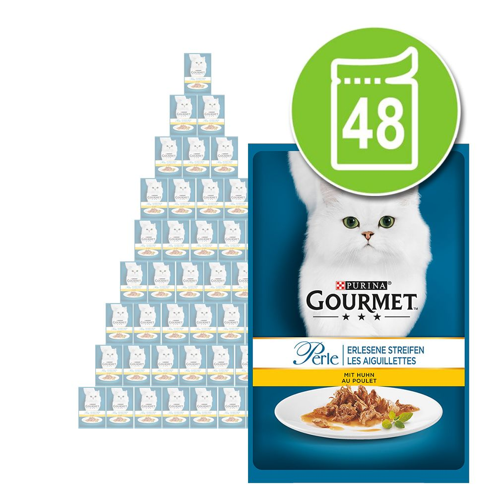 Blandat ekonomipack: Gourmet Perle 48 x 85 g - Delikata strimlor - fågel