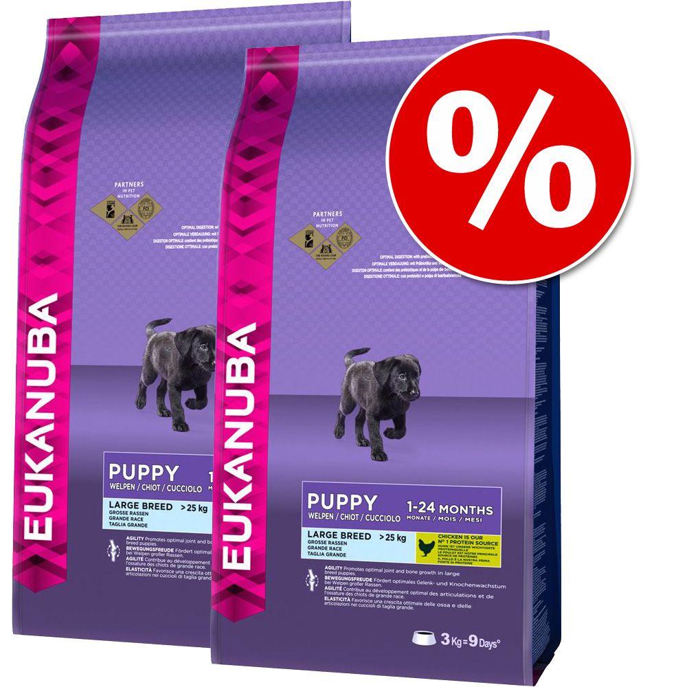 Dwupak Eukanuba Puppy - All Breeds, jagnięcina i ryż, 2 x 12 kg
