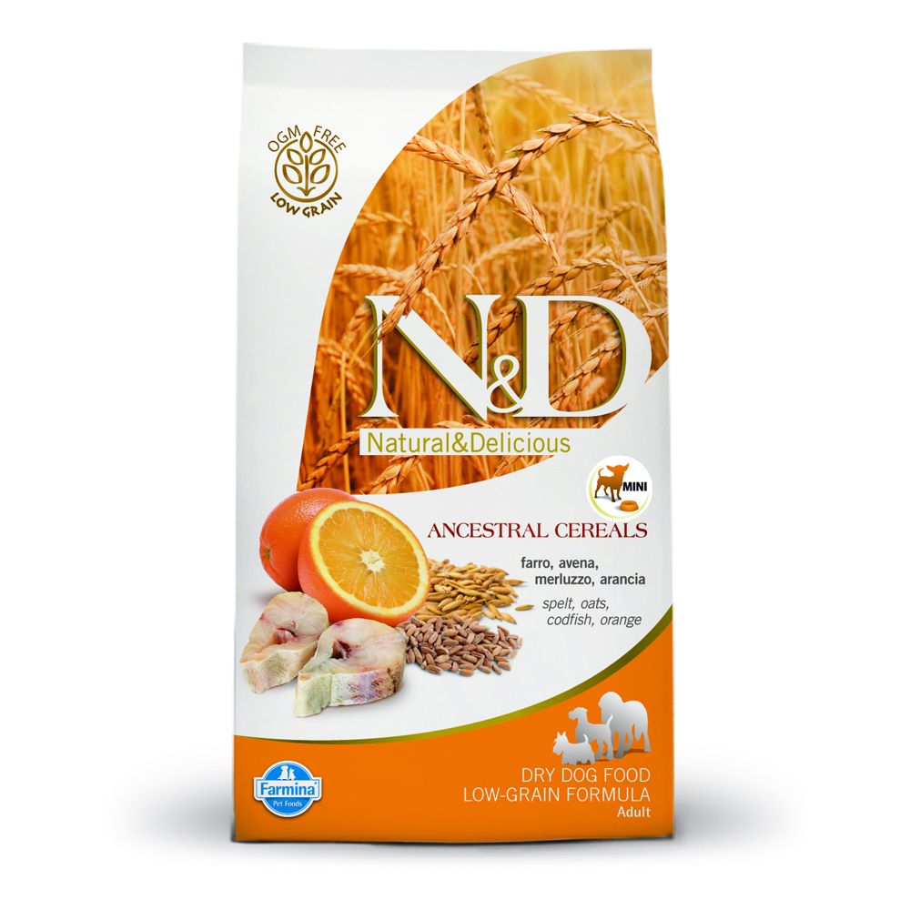 Foto Farmina N&D Low Grain Adult Mini Merluzzo e Arancia - 2 x 2,5 kg - prezzo top! Farmina N&D Low Grain Ancestral Mini