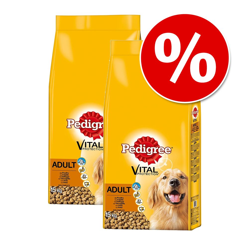 Ekonomipack: 2 påsar Pedigree till sparpris! - Adult Beef & Vegetables (2 x 15 kg)