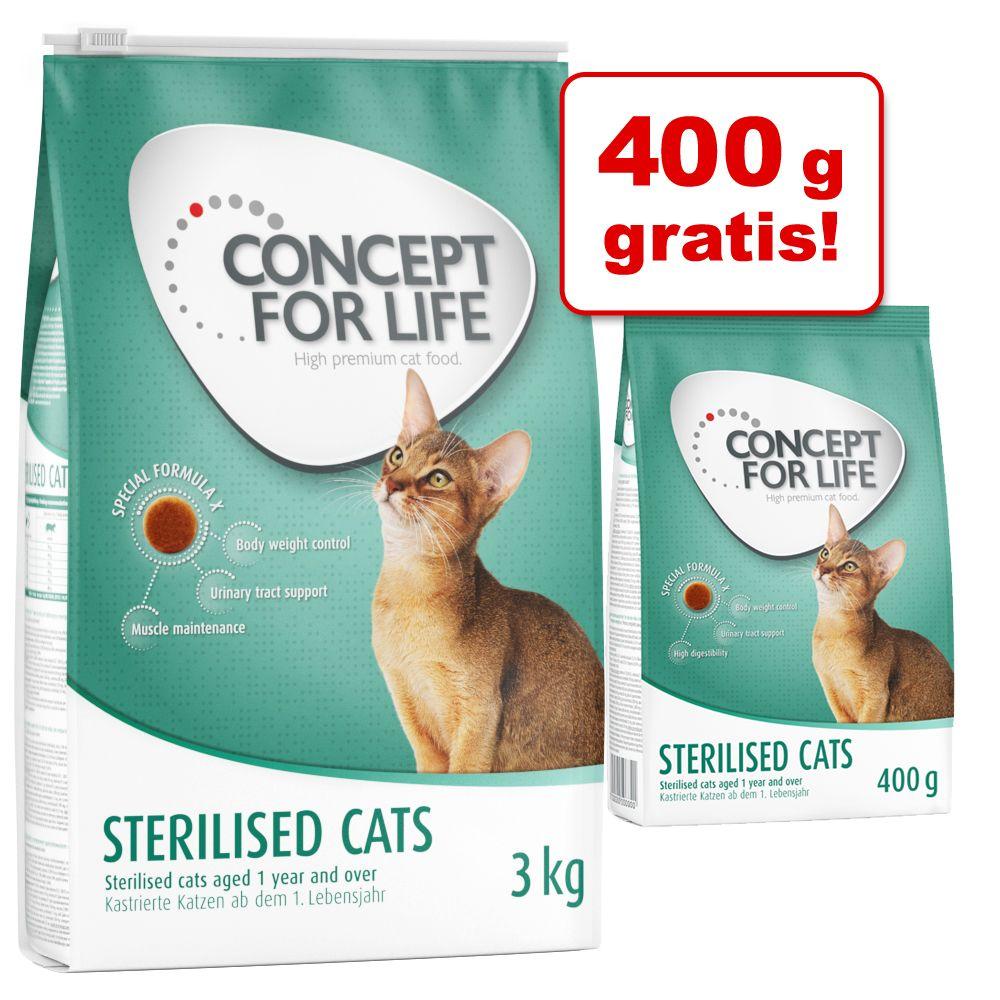 3 kg + 400 g på köpet! 3,4 kg Concept for Life kattfoder - Sterilised Cats
