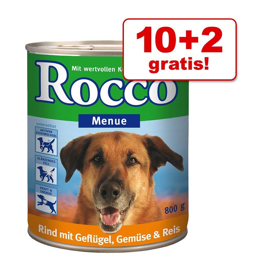 10 + 2 gratis! Rocco Menu, 12 x 800 g - Wołowina z warzywami i ryżem