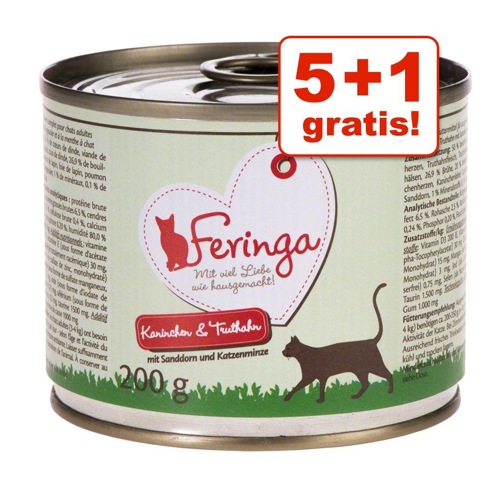 5 + 1 gratis! Feringa Classic Meat Menü 6 x 200 g - Kitten Pute 6 x 200 g