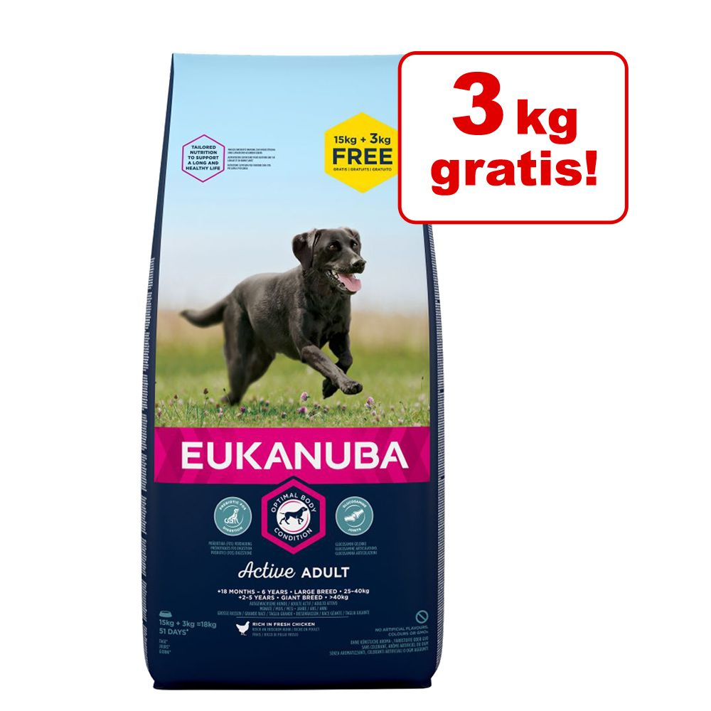 15 + 3 kg gratis! 18 kg Eukanuba Hundefutter - Growing Puppy Large Breed Huhn