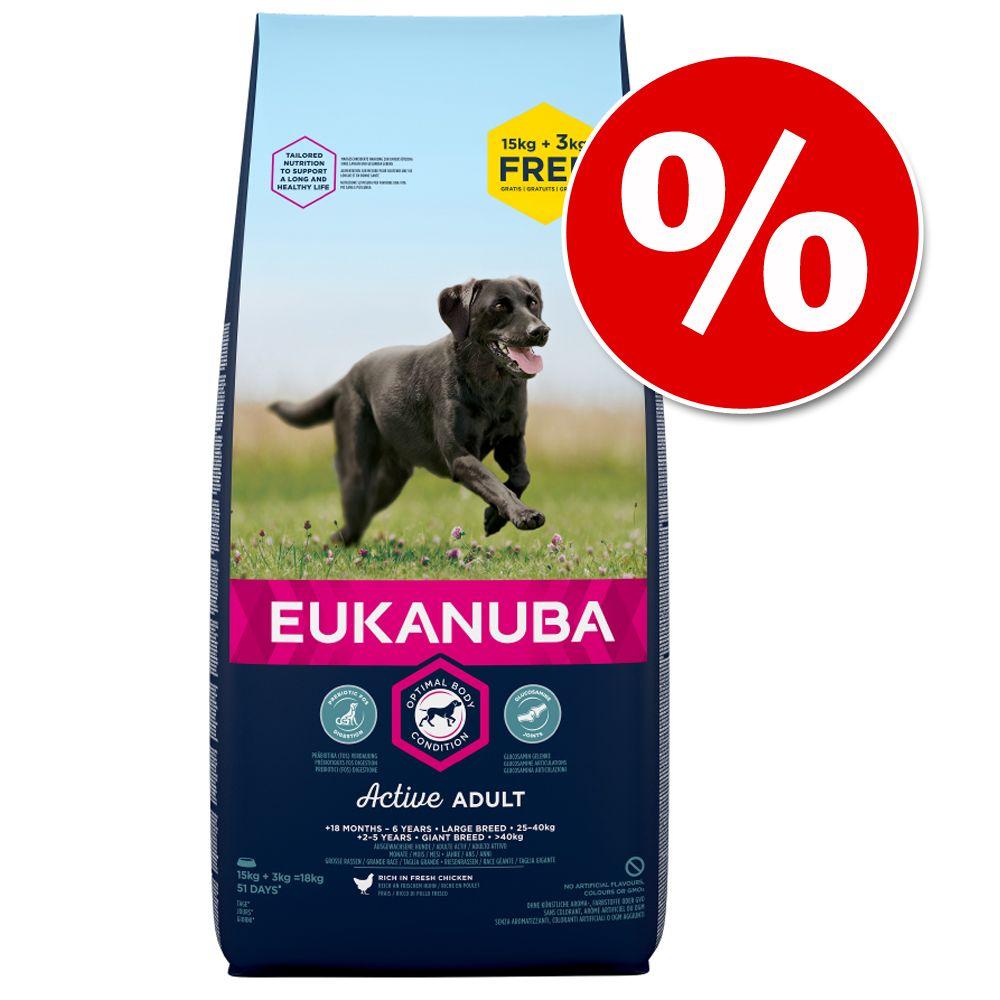 15 kg + 3 kg på köpet! 18 kg Eukanuba Adult och Puppy stora/medelstora raser - Growing Puppy Medium Breed Chicken