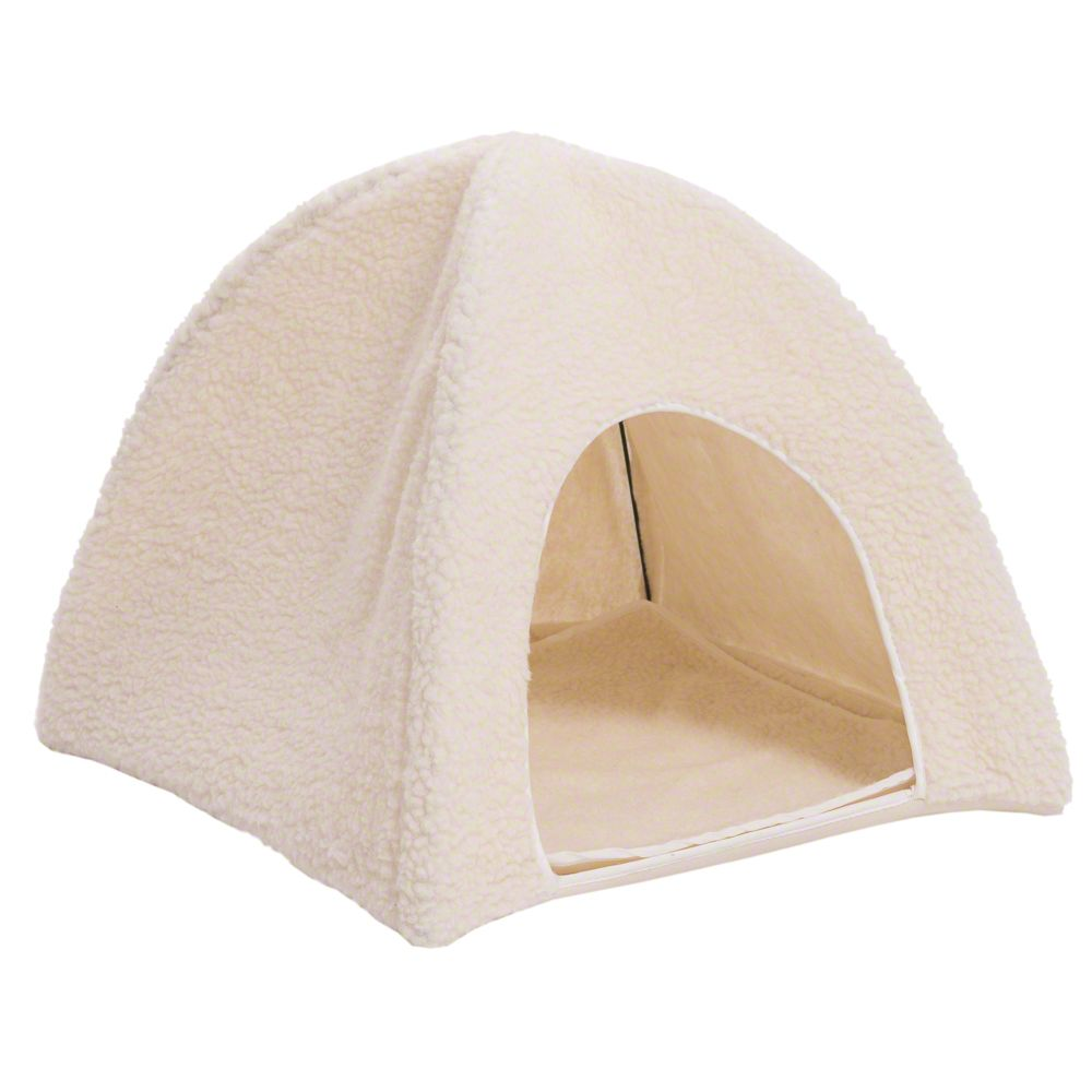 Fleecy Sheepskin Cat Den - 43.5 x 43.5 x 40 cm