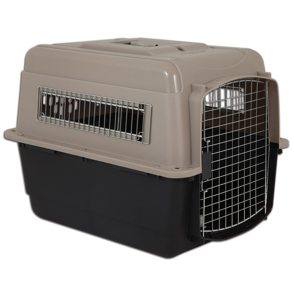 Vari Kennel Ultra Fashion Pet Carrier – Taupe / Black - 81 x 57 x 61 cm (L x W x H)