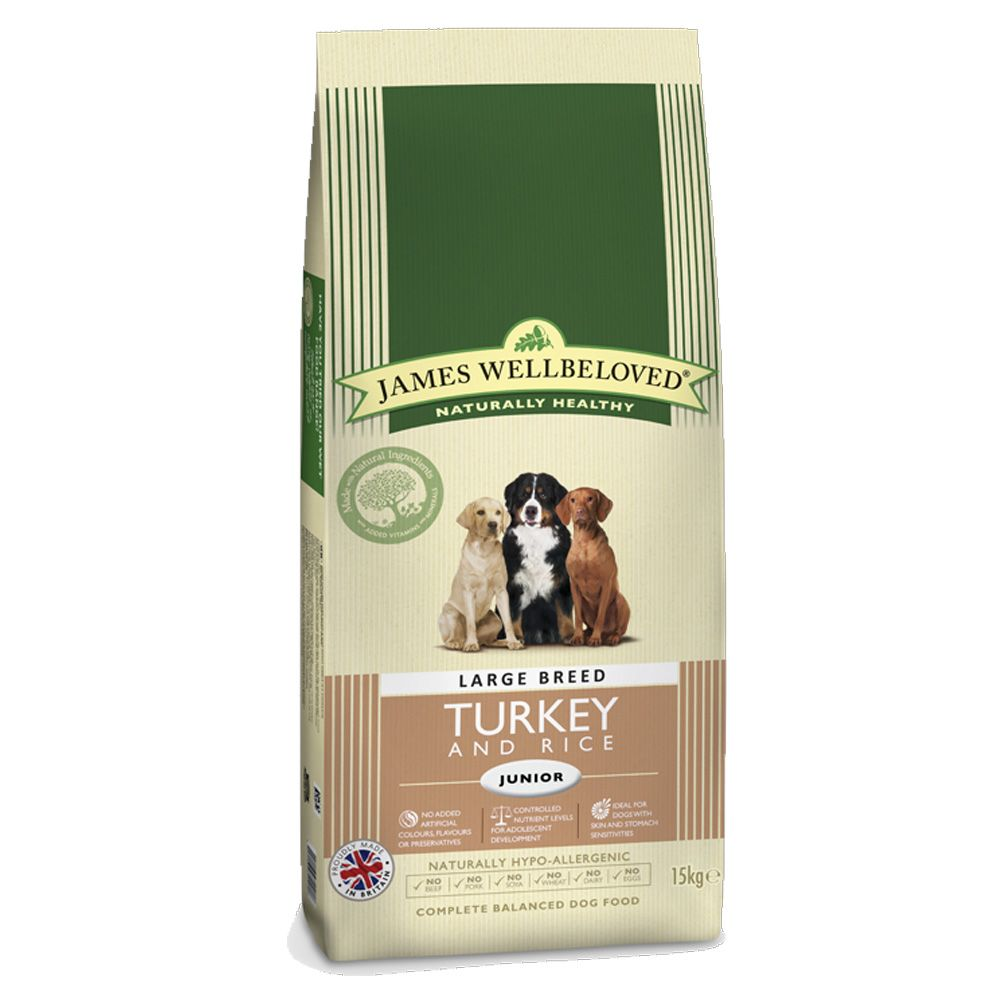 James Wellbeloved Junior Large Breed - Turkey & Rice - Economy Pack: 2 x 15kg