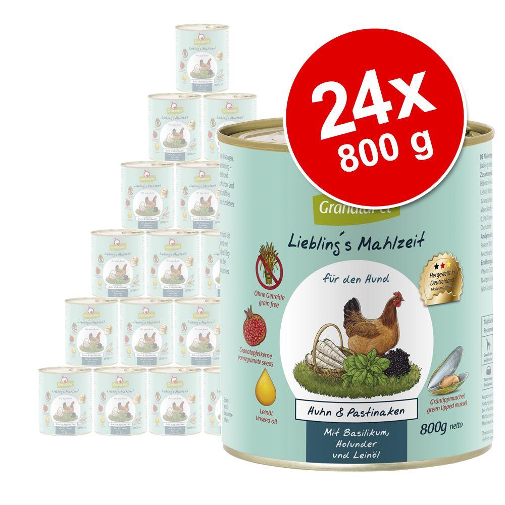Sparpaket GranataPet Liebling's Mahlzeit 24 x 800 g - Kalb & Kaninchen mit Zucchini, Kürbis und Leinöl