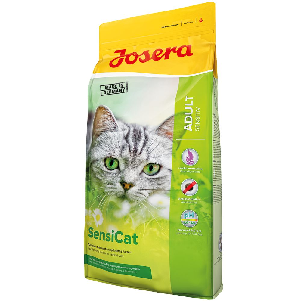 Josera Sensi Cat is an easy to digest and tasty cat food with poultry and rice.The special recipe is especially suitable for cats with a sensitive digestion. Joser...