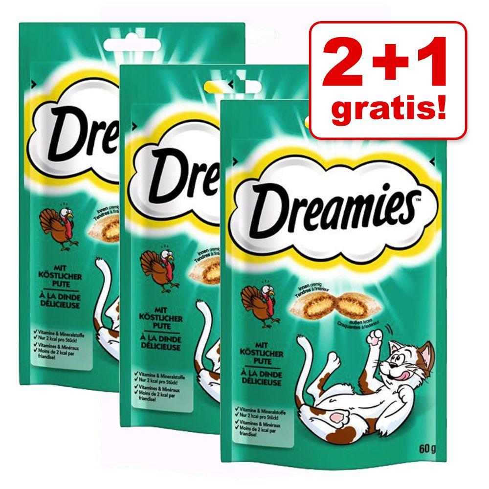 2 + 1 på köpet! 3 x 60 g Dreamies Cat Treats - Tonfisk