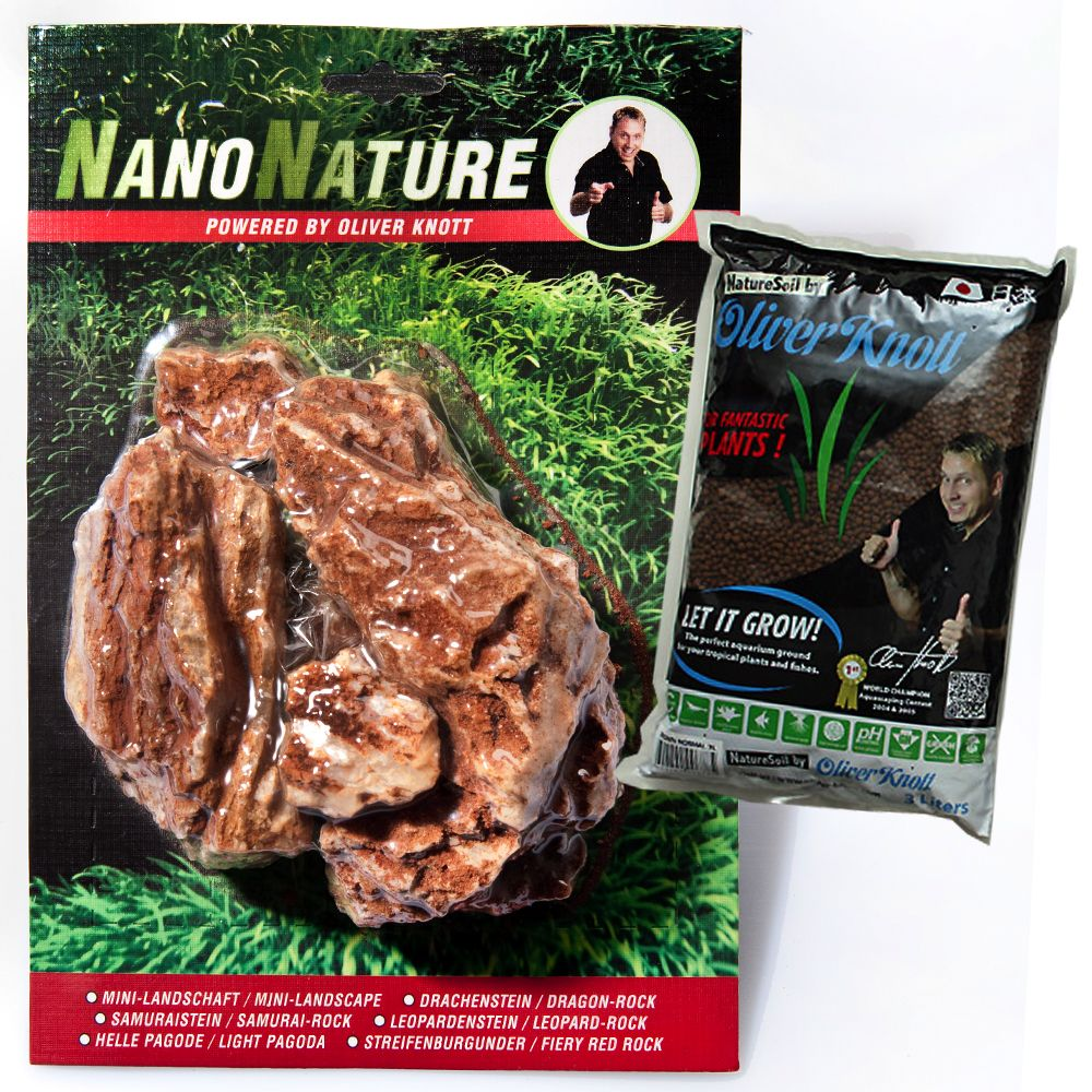 Foto Set Pietre Samurai - Nano Nature - 5 pz + 3 l NatureSoil marrone