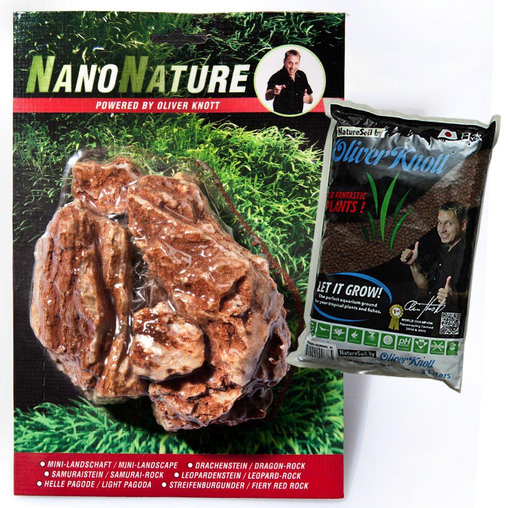 NanoNature Samurai Rock Set - 5 rocks + 3 litres NatureSoil brown, fine
