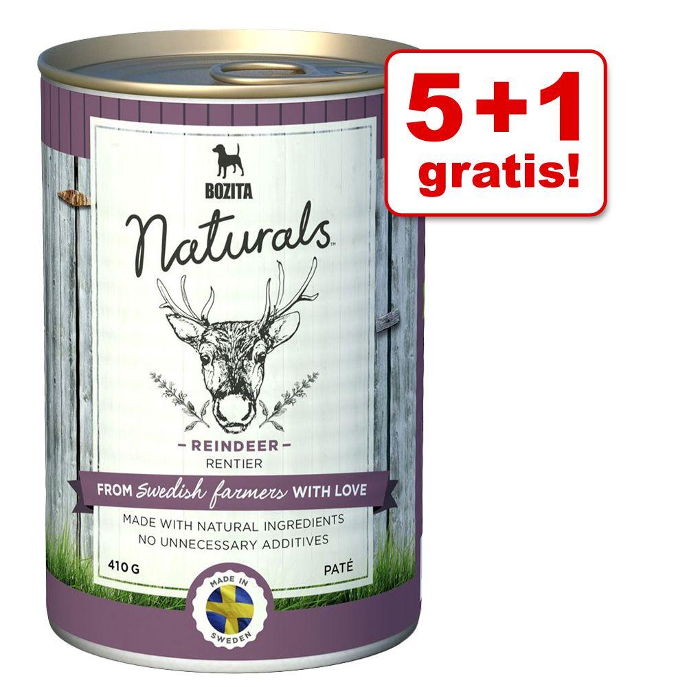 5 + 1 gratis! 6 x 410 g Bozita Naturals Pate - Rentier