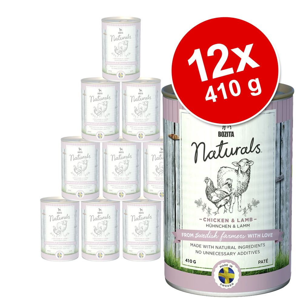 Pakiet Bozita Naturals Pate, 12 x 410 g - Kurczak i jagnięcina