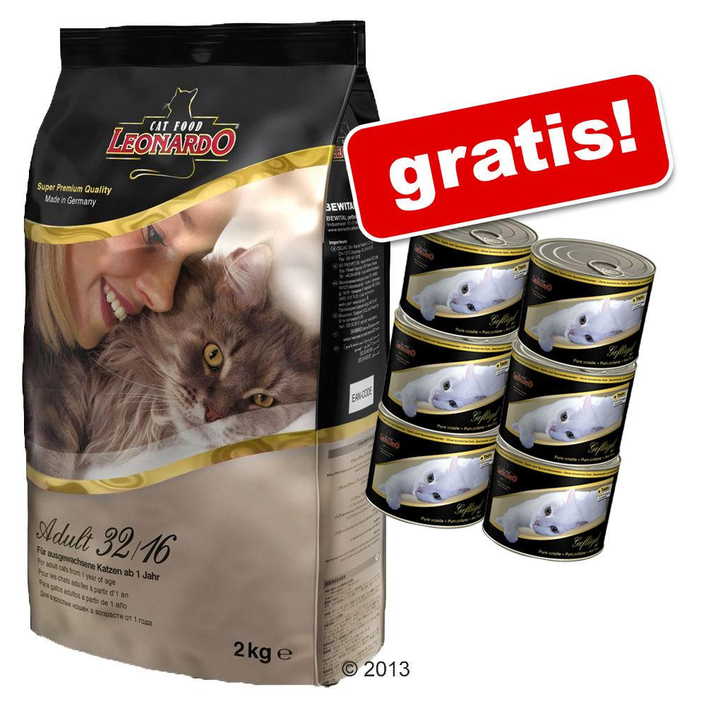 7,5 kg/ 15 kg Leonardo + 6 x 200 g Nassfutter gratis! - Adult 32/16 (15 kg)