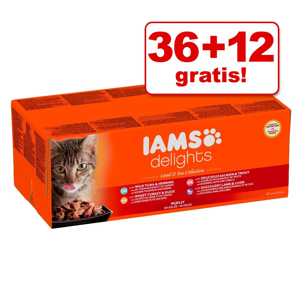 36 + 12 gratis! 48 x 85 g IAMS Delights Pouches - Land & Sea in Gelee