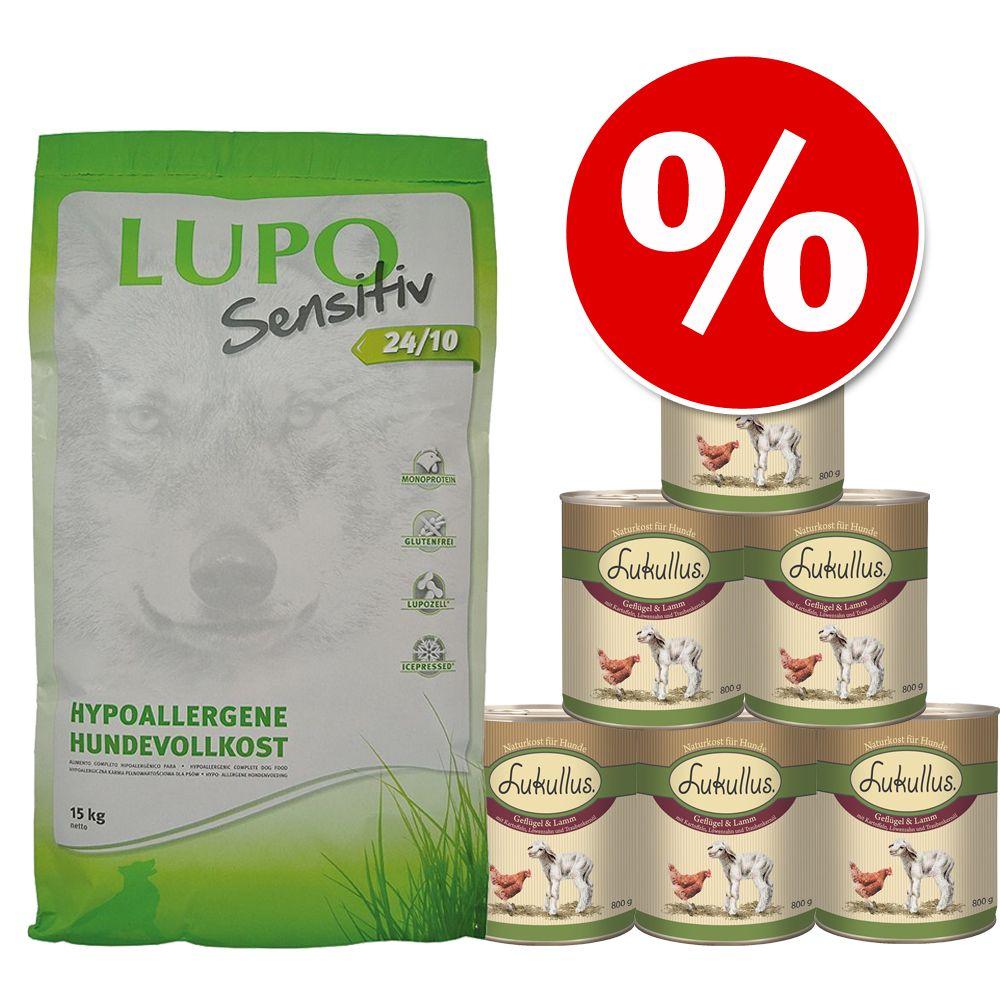 Sparpaket Lupo Sensitiv + Lukullus Geflügel & L...