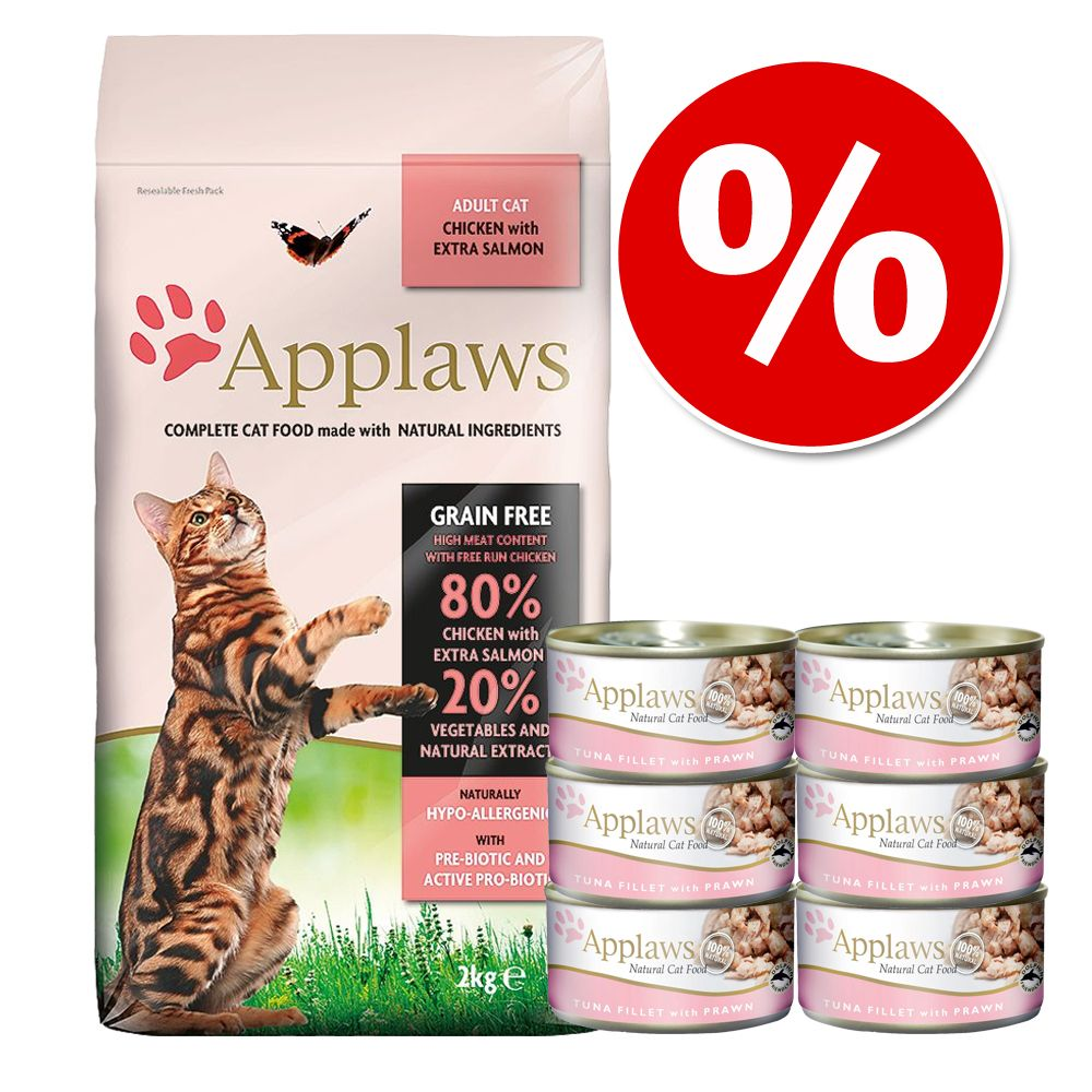 Applaws provpack: Torr- och våtfoder - 2 kg Adult Chicken & Salmon + 6 x 70 g Havsfisk
