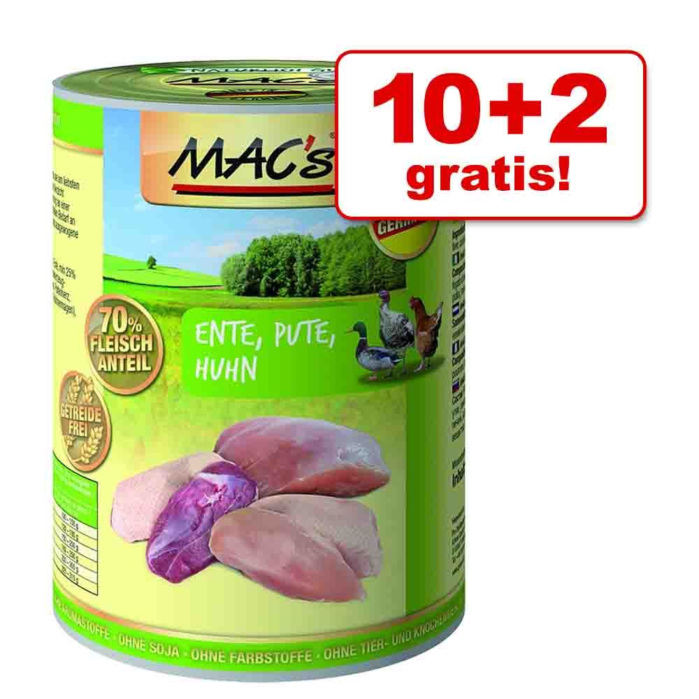 10 + 2 gratis! MAC's Cat karma dla kota, 12 x 400 g - Kaczka, indyk, kurczak