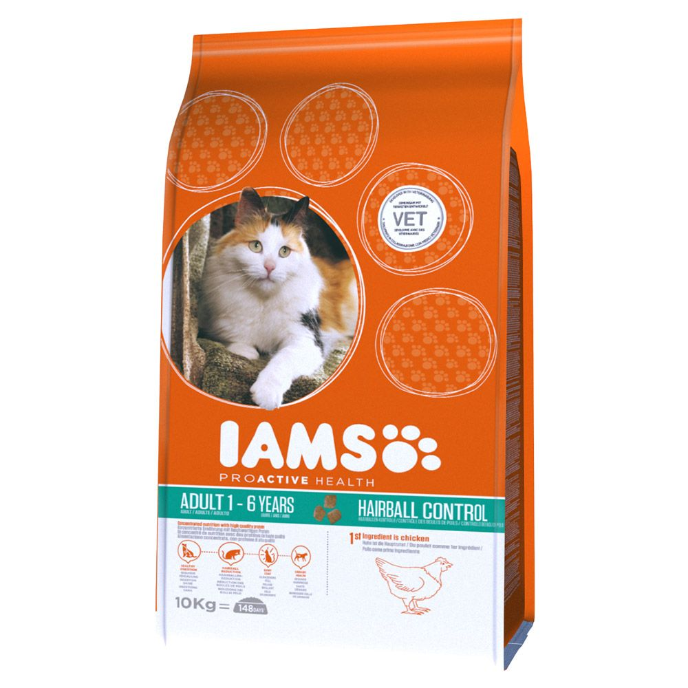 Iams Proactive Health Adult Hairball Chicken Dry Cat Food - 2.55kg
