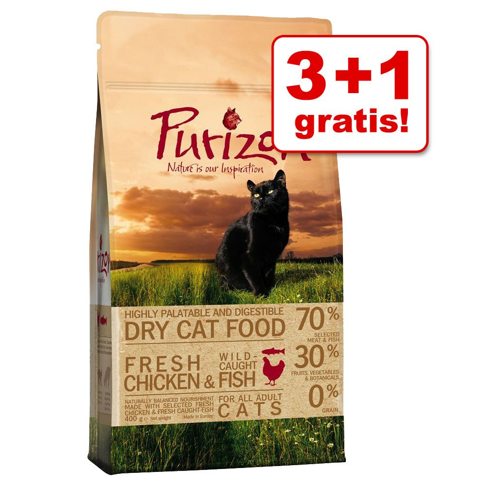 3 + 1 gratis! Purizon karma dla kota, 4 x 400 g - Pakiet mieszany