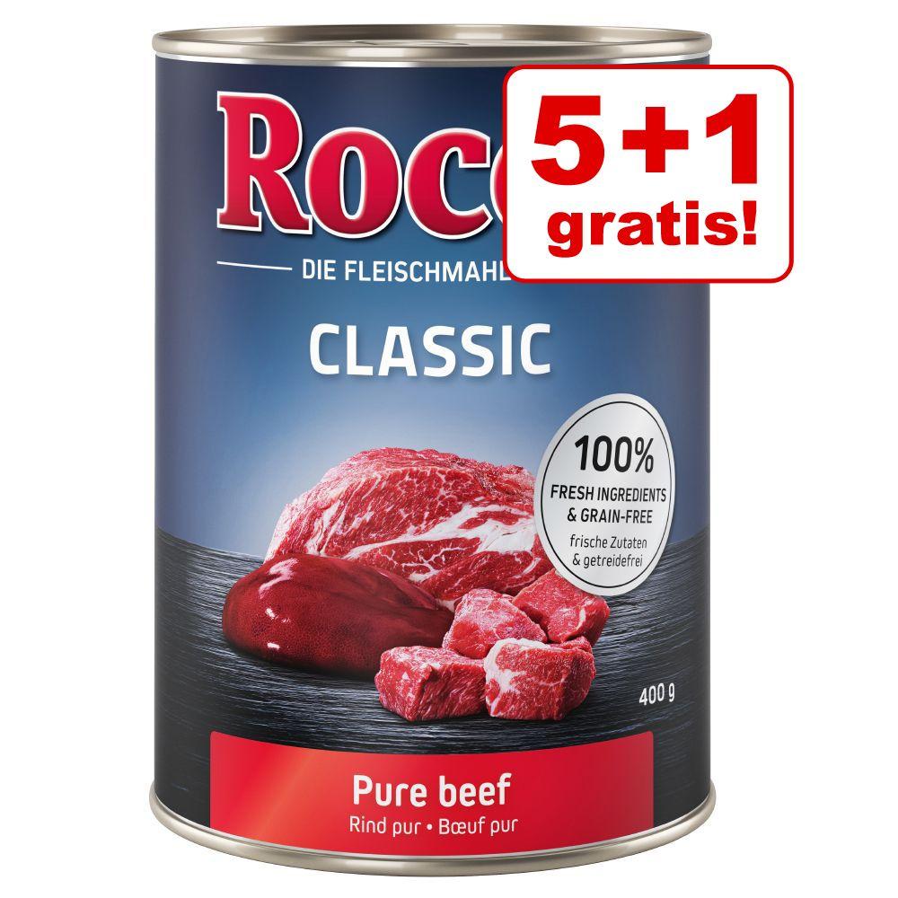 5 + 1 på köpet! 6 x 400 g Rocco Classic - Nötkött & fågelhjärta