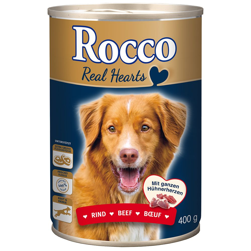 Rocco Real Hearts Saver Pack 24 x 800g - Beef with whole Chicken Hearts