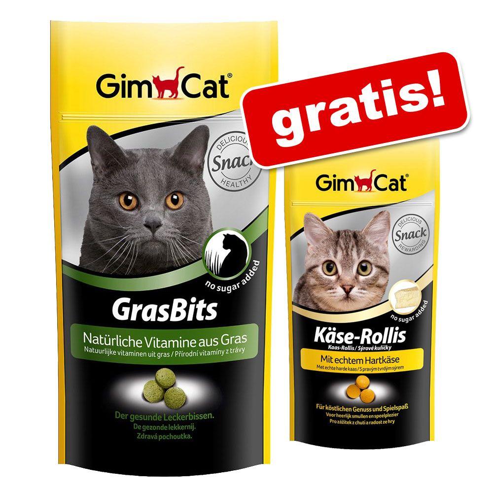 140 g GimCat GrasBits + Roladki serowe Gimcat, 80 sztuk (40 g), gratis! - 140 g