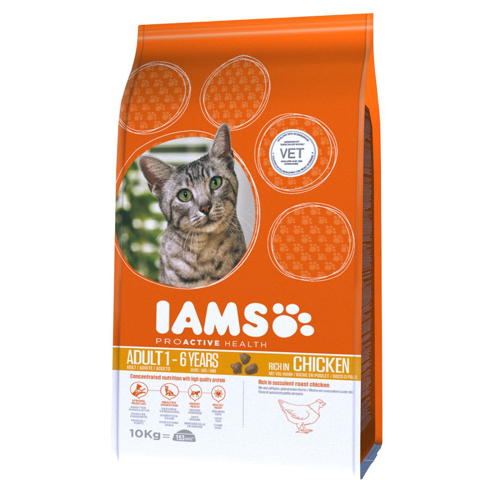 Iams Proactive Health Adult Rich in Chicken Dry Cat Food - 10kg