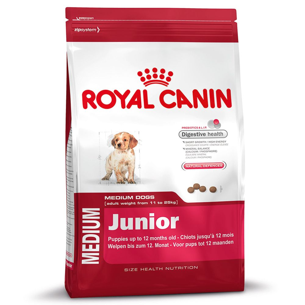 Foto Royal Canin Medium Junior - 15 kg + 3 kg – Bonus Bag Royal Canin Size Royal Canin Taglia Medium