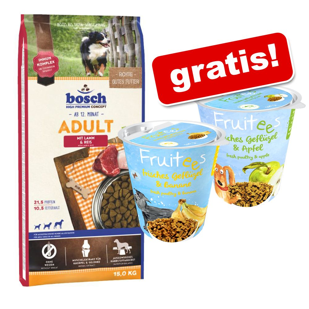 Image of Bosch + 2 x 200 g Bosch Fruitees gratis! - 15 kg HPC Adult Salmone & Patate