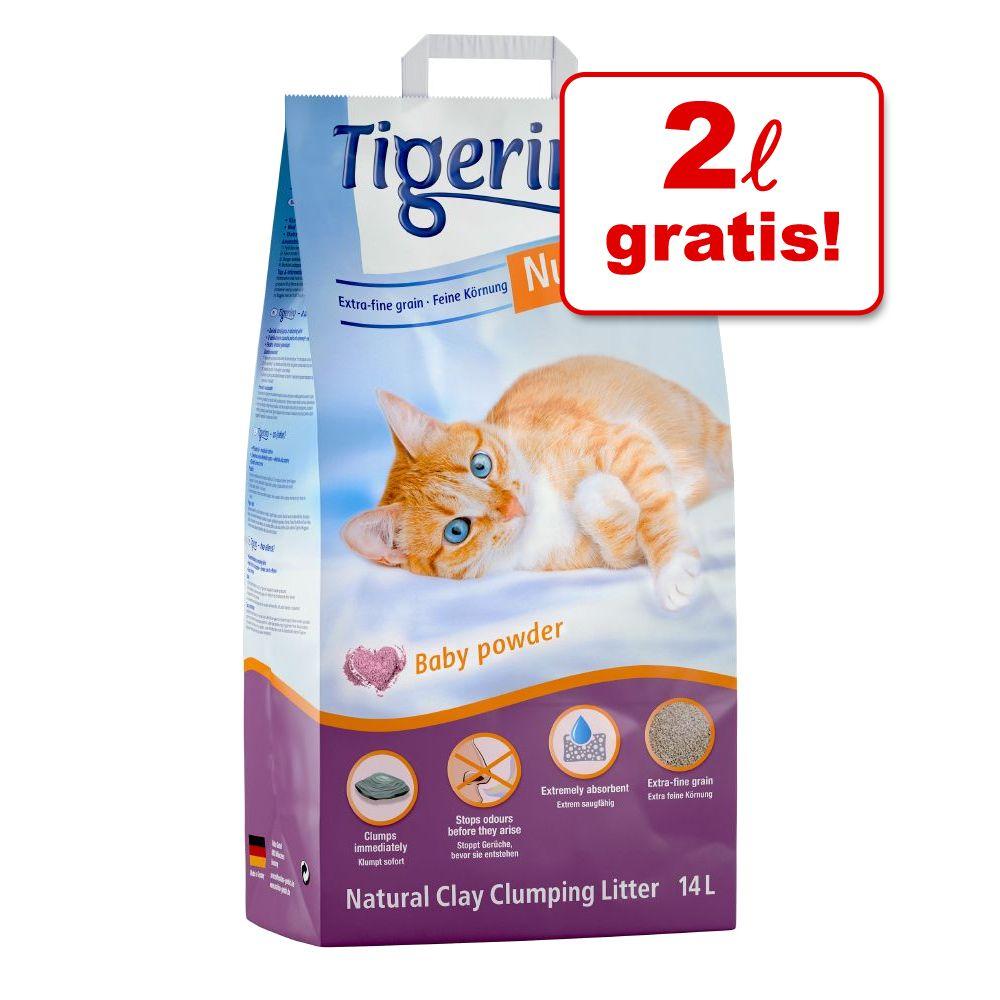 12 + 2 l på köpet! 14 l Tigerino Nuggies kattströ - Ultra klumpströ - Baby Powder