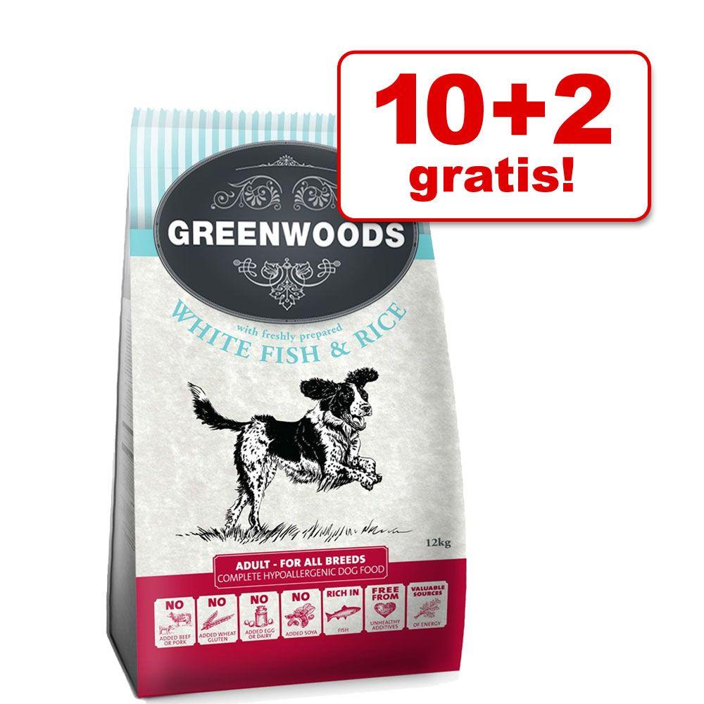 10 + 2 gratis! Greenwoods Adult karma dla psa, 12 kg - Adult, Jagnięcina i ryż