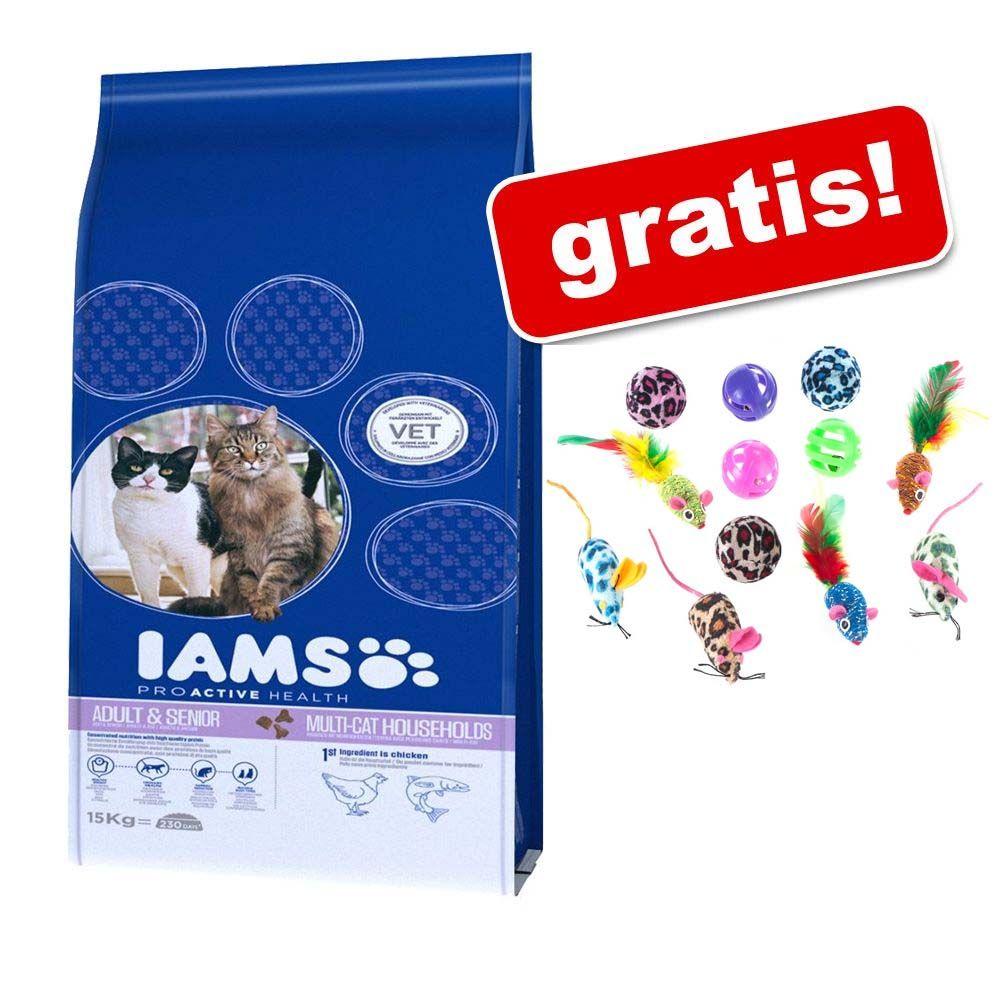 Duże opakowanie IAMS + Zestaw zabawek dla kota z piłkami i myszkami gratis! - Mature & Senior, 10 kg