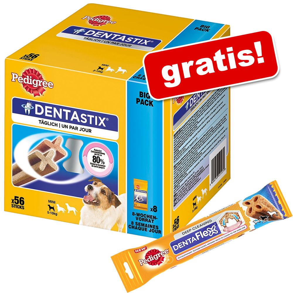 Megapakiet Pedigree Dentastix, 112 szt. + 2 x Denta Flex Medium gratis! - Dla średnich psów, 2880 g