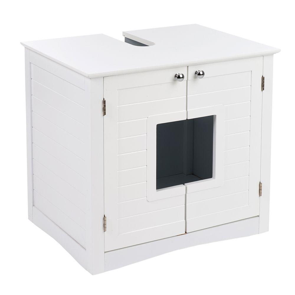 Bathroom Litter Tray Cupboard - White: 61.2 x 45.9 x 56.2 cm (L x W x H)