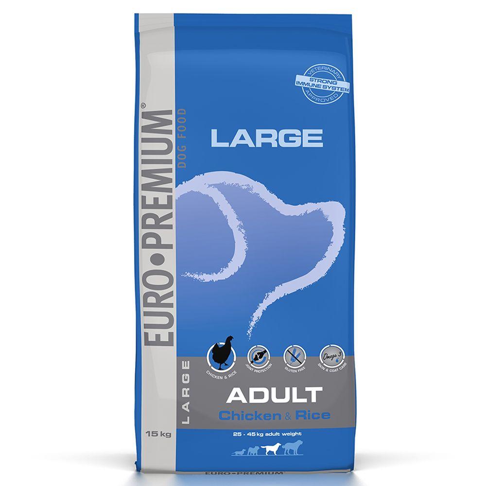 15kg Large Adult Euro Premium Poulet/riz Croquettes pour chien