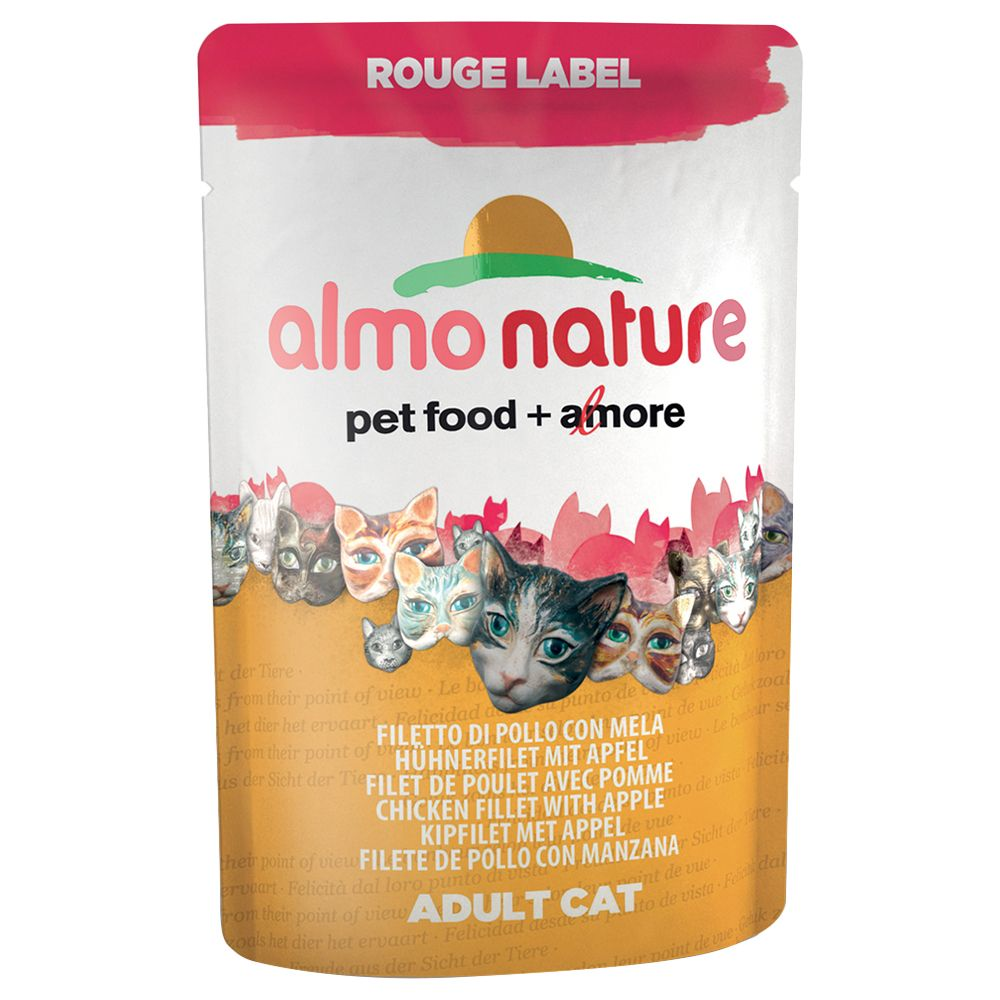 Almo Nature Rouge Label Fillets in Pouches 12 x 55g - Tuna & Sole Fillets
