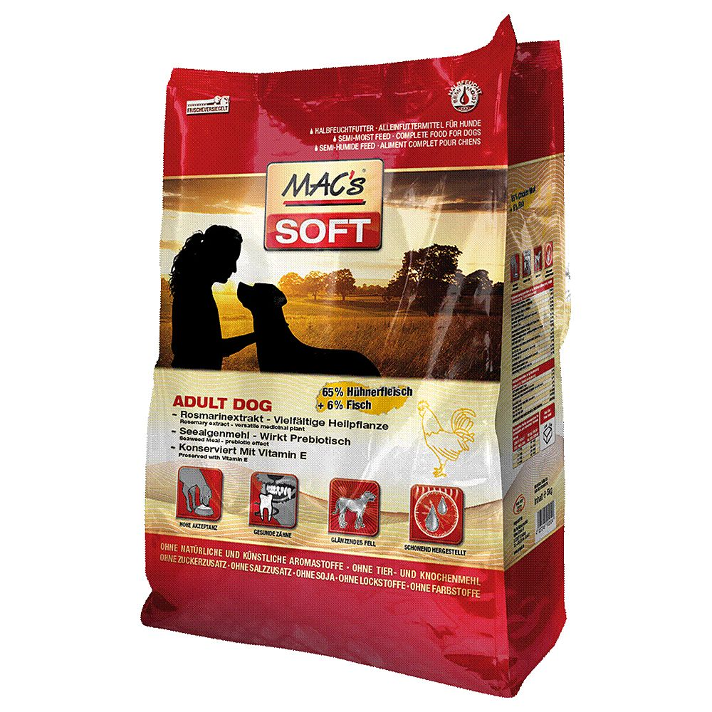 Ekonomipack: 6 påsar MAC's Soft hundfoder till lågt pris! - Grain Free (6 x 5 kg)