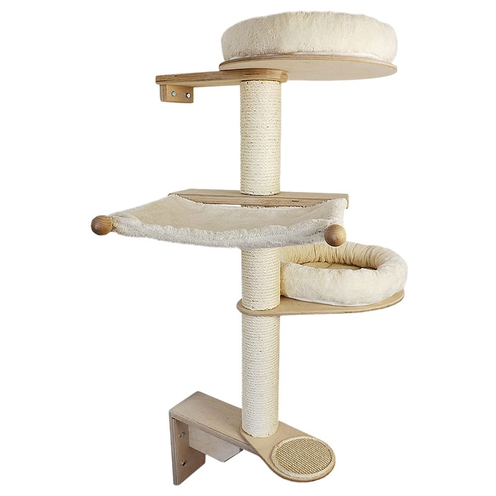 The Lisa Pet Fun Wall-Mounted Cat Tree is secured to your wall at both ends of the sisal-covered post to ensure stability and prevent tipping or wobbling, without ...