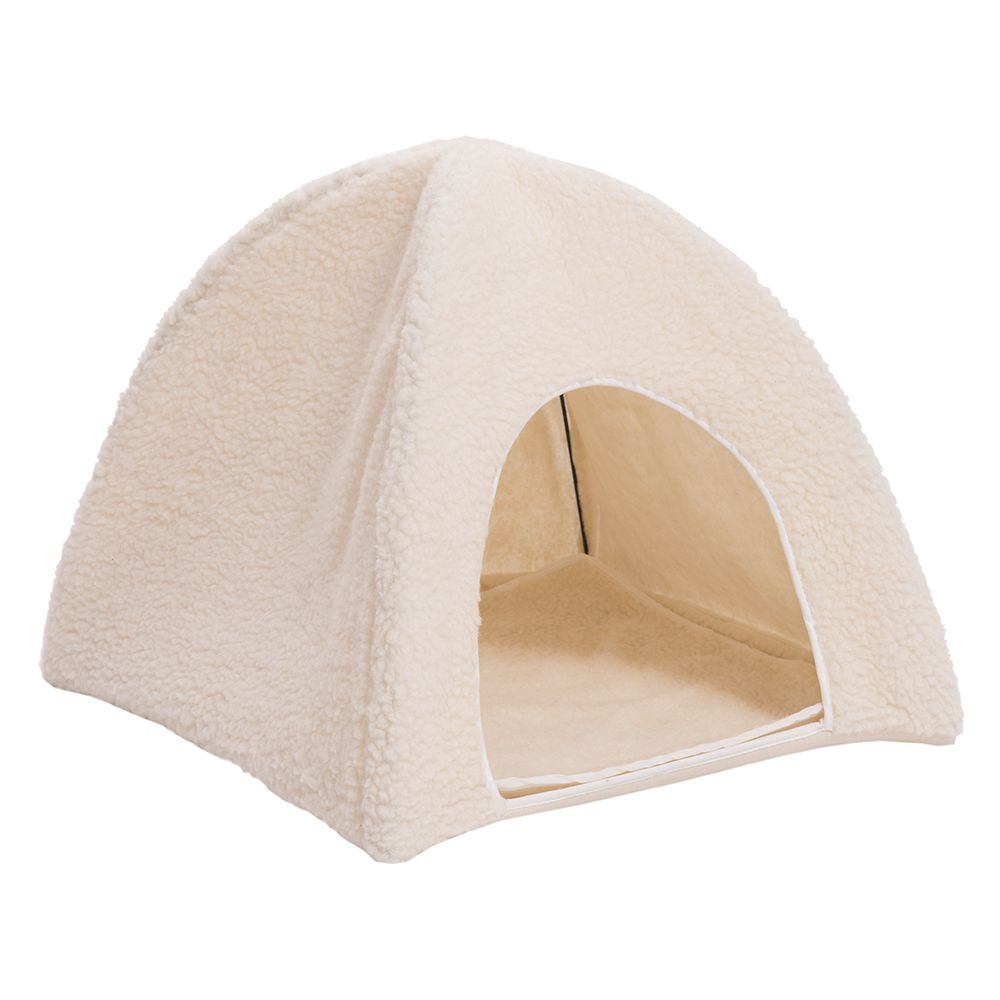 Fleecy Sheepskin Cat Den - 43.5 x 43.5 x 40 cm (L x W x H)