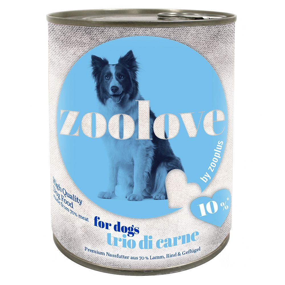 24x800g Trio di Carne zooplove Wet Dog Food