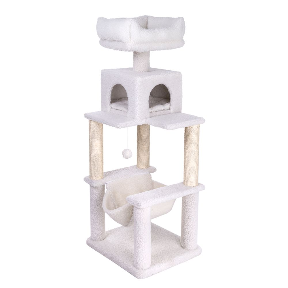 Wool White Fluffy Cat Tree I