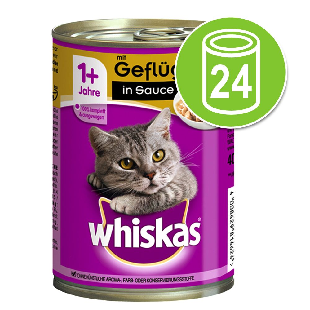 Ekonomipack: Whiskas 1+ burkar 24 x 400 g - 1+ Fjäderfä i sås