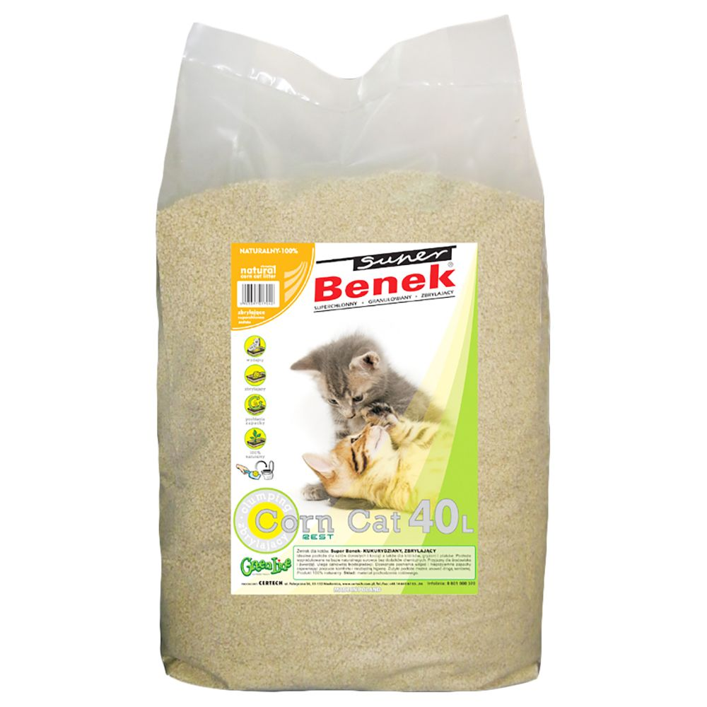 Super Benek Corn Cat Natural Clumping Litter - 40 litres
