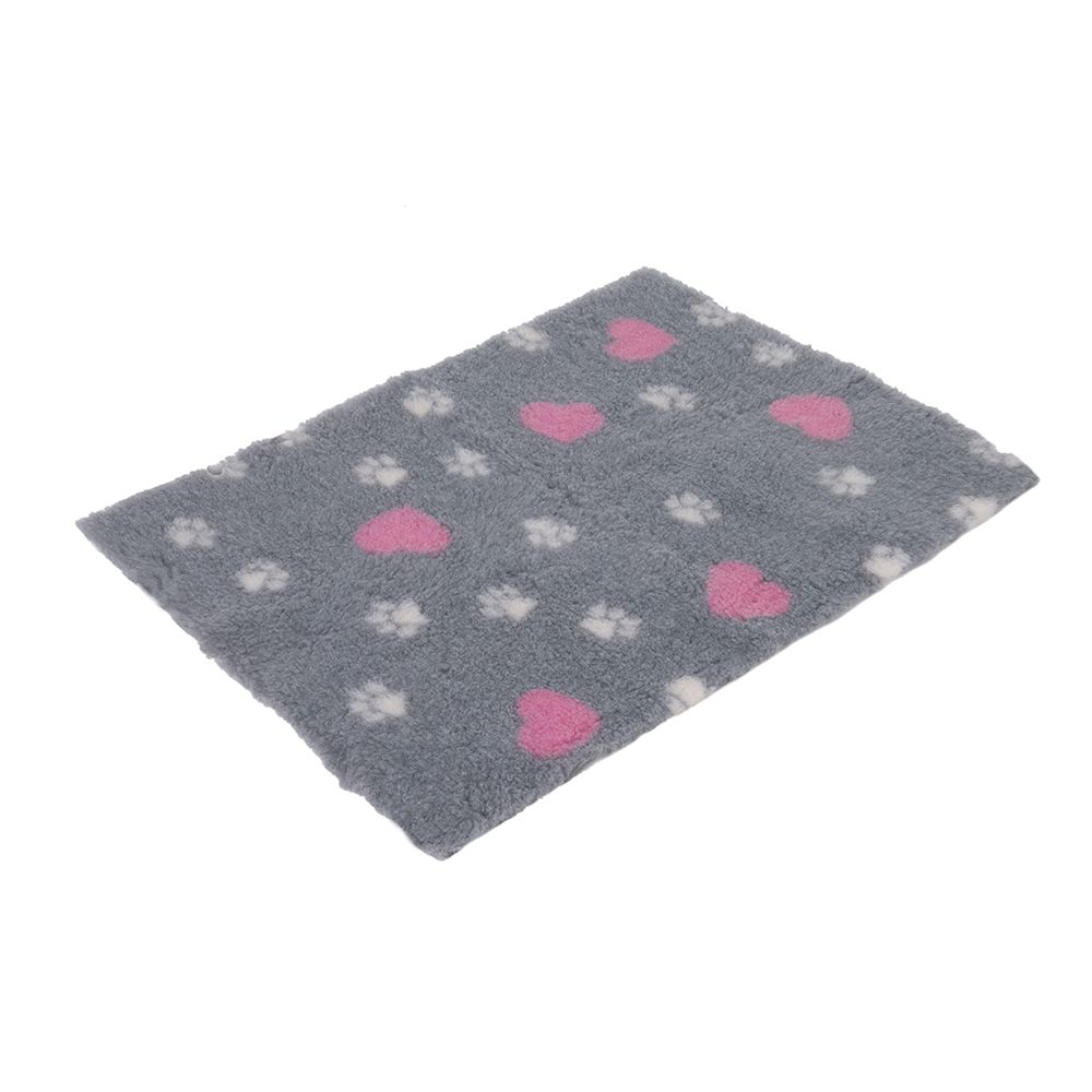 zooplus Isobed - Grey with Paws & Hearts - 100 x 75 x 2.5 cm (L x W x H)